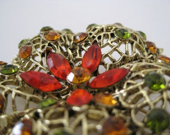 Flower Brooch Orange Gold Rhinestone Filigree Viintage Pin