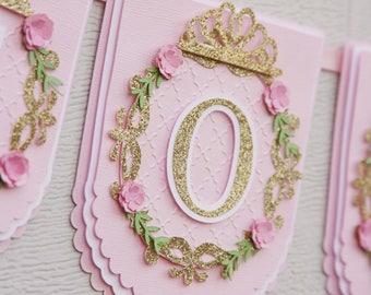 1ère princesse party bannière - princesse première partie bannière - 1er bannière princesse - rose princesse banderole - banderole d'anniversaire princesse - princesse