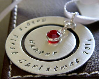 """Baby's First Christmas Ornament - Personalized Baby's 1st Christmas Ornament - Hand Stamped Sterling Silver 1.5"""" Keepsake Ornament"""