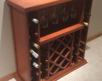 34 Bottle Stemware Lattice Style Wine Rack     Golden Brown