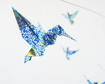 Mobile origami decoration Bohemian, decoration, spring, gift for her, origami Hummingbird design accessory, blue flower pattern