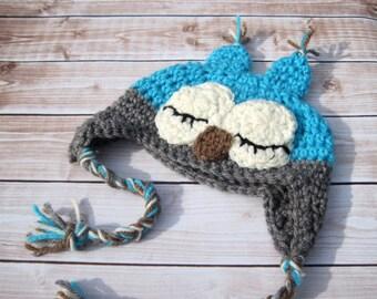 Baby Boy Owl Hat, Crochet Baby Hat, Baby Boy Hat, Crochet Owl Hat, Newborn Owl Hat, Infant Boy Hat, Baby Animal Hat, Blue, Hat for Boys