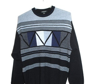 Luxurious vintage 90s wool blend sweater with a black and grey geometric print.Made by Murano in Italy. Size XL.