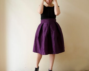 Deep Purple Knee Skirt Silk Shantung High Waist Party Evening Skirt with Pockets Prom Cocktail Skirt, Customize color and length, Plus sizes