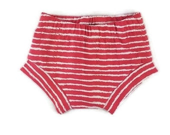 baby shorts - organic baby shorts- shorties - harem shorts - baby girl - baby boy - toddler shorts - red striped shorts -