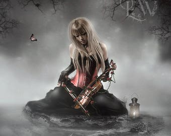 Gothic fantasy woman playing violin art print, black white and red wall decor, butterflies and roses digital art