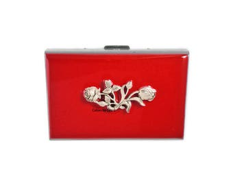 Roses Embellished RFID Metal Wallet with Card Organizer Inlaid in Hand Painted Enamel with Color and Personalized Options