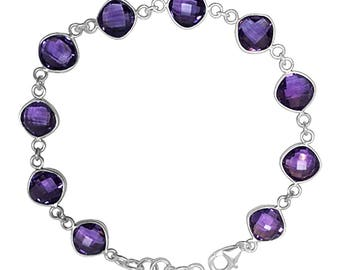 Natural 18 cttw Purple Amethyst Sterling Silver Bracelet February Birthstone Gemstone Jewelry