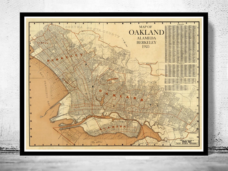 Old map oakland alameda berkeley california 1925 zoom publicscrutiny Image collections
