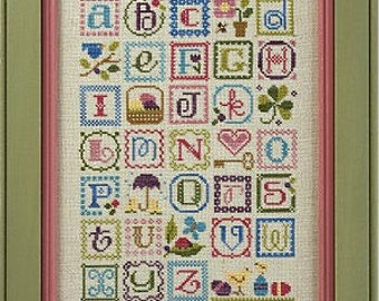 LIZZIE KATE Spring Alphabet counted cross stitch patterns INCLUDES embellishments at thecottageneedle.com sampler valentines day