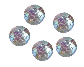 25 White Mermaid Dragon Scales Resin Cabochons Flat Back 12mm (080)