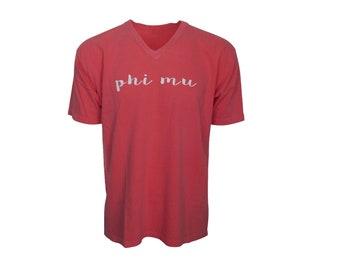 Phi Mu - V-Neck T-shirt with script lettering NEW
