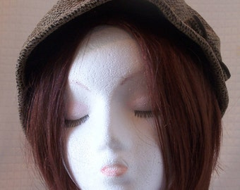 Vintage 1990's Taupe and Black Maxim Kobe Tokyo Hat with Bow/Velvet Trim/Soho/Bohoo/Slouchy Hat