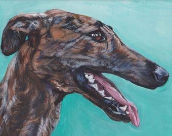 "Galgo Espanol spanish GREYHOUND dog art canvas PRINT of painting by LAShepard 8x10"""
