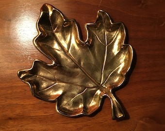 Vintage Metal Goldtone Leaf Dish