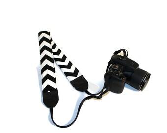DSLR Camera Strap, Black Chevron Camera Strap, DSLR Strap