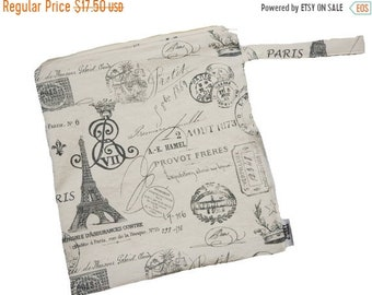 Spring Sale 12x12 Sweet Bobbins  Wet Bag - Paris Postcards - SEAM SEALED - Boutique Quality