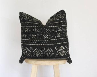 African Black Mudcloth Pillow Cover, shibori, mud cloth, boho, vintage, gift for her, nursery pillow, crib pillow, 18 x 18