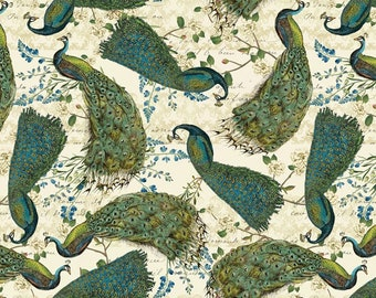 Peacock Arbor, Peacocks with Glitter, 100% Quilting Cotton by David Textiles, by the half yard