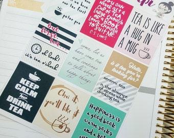 TEA quote full boxes   Stickers for -Erin Condren planner (#QB02)