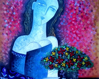 """Flower art.Flower painting,girl portrait.Original Textured Painting. Free Shipping. """"Emotion"""".Size 23.62x27.55 inch (60x70 cm)"""