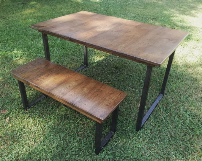 Reclaimed Wood Table and Bench with Steel Legs Dining Table Metal Legs Wood Furniture