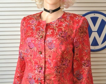 Vintage Oriental Jacket or Top Womens Cherry Red 80s Asian Blouse Faux Brocade Button Front Lined Floral Theater Costume/Medium/Button Front