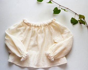 Gauze Peasant Cotton Toddler Blouse Handmade by Papoose Clothing