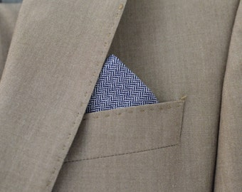 Men's Pocket Square in Navy Herringbone - navy blue white  handkerchief wedding groomsmen suit washable