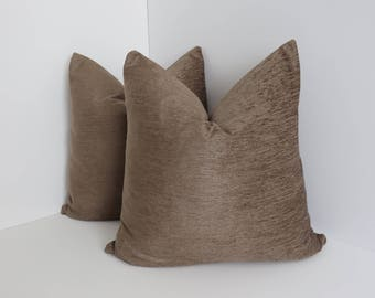 Chenille Brown Pillow Covers- Chenille Pillows- Solid brown Pillows- Brown Pillows