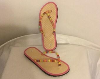 Colorful Ladies Flip Flops Size 5/ Beach Footwear