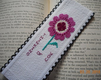 Thinking Of You Bookmark, red violet flower, cross stitch bookmark,  aida riband bookmark