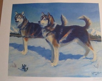 """Fred Machetanz """"They Opened the North Country"""" Limited Alaskan Artist Lithograph / Husky"""
