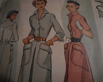 Vintage 1940 McCall 7758 Dress Sewing Pattern, Size 14 Bust 32