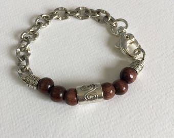 Man's bracelet, chain and Wooden beads bracelet