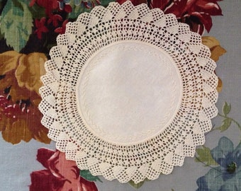 Circular cream doily crochet vintage antique UK seller