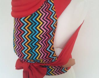 MEI TAI Baby Carrier / Sling / Reversible /  Rain-Zig with Red in straight cut model