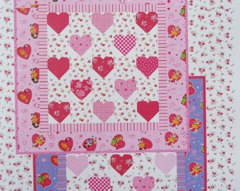 Heart Quilt Pattern, Dolly Hearts #337 Late Bloomer Quilts, Valentine Quilt Pattern, Baby Quilt, Table Topper,  Wall Hanging Pattern