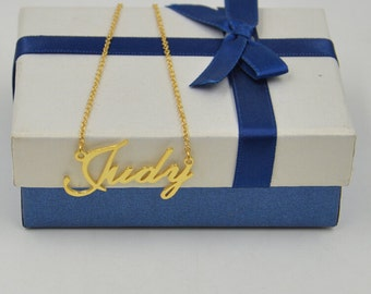 Nameplate necklace,Custom gold nameplate necklace,personalized name jewelry,Bridesmaid Gift,order any name