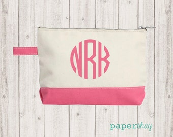 Monogram Make Up Bag - Monogrammed Makeup Canvas Bag - Monogrammed Make Up Bag - Personalized Travel Bag -Monogram Bridesmaids Gift, CORAL