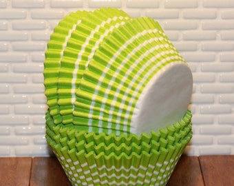 Lime Green Stripe Cupcake Liners  (Qty 45) Lime Green Stripe Baking Cups, Lime Green Cupcake Liner, Lime Green Baking Cups
