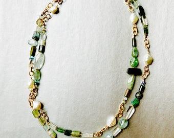 Tourmaline, aquamarine, apatite and freshwater pearl necklace