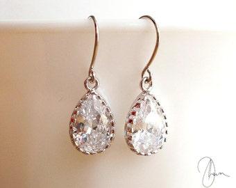 Bridesmaid Earrings, Silver Crystal Earrings, Tiny Tear Drop Pear Dangle Earring, CZ Wedding Earrings, Bridesmaid Gift, Small Bridal Earring