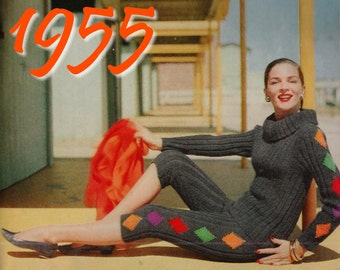 1950s Knitting Pattern Cowl Neck Sweater 1950s Capri Pants PDF INSTANT DOWNLOAD Knitted Pants Harlequin Sweater 1950s Sweater Pattern