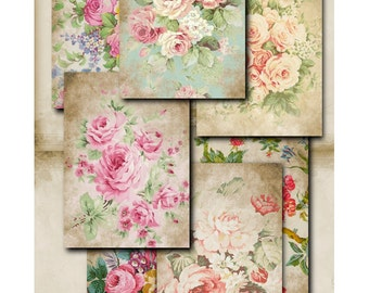 Rustic Florals - digital download - Jewellery Holders - gift tags - scrapbooking - crafts - Raspberry Hall