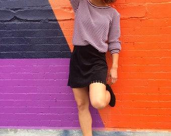 Vintage Knitwear/ Purple White Striped Lauren Knitwear Corp Sweater/ Small Medium