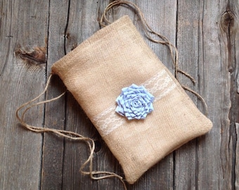 Custom Flower Dollar Dance Bag, Pastel Wedding, Drawstring Bag, Rustic Wedding Bag, Country Western Wedding, Burlap Lace Wedding, Burlap Bag