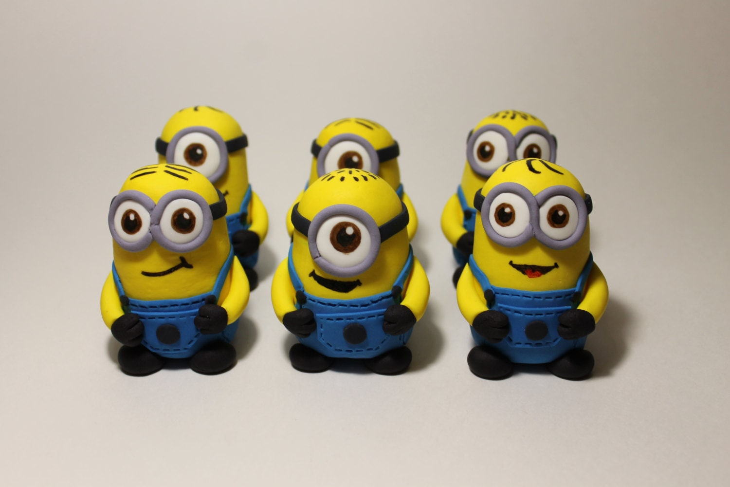 Fondant Minion Cake toppers 6 pack Large Size