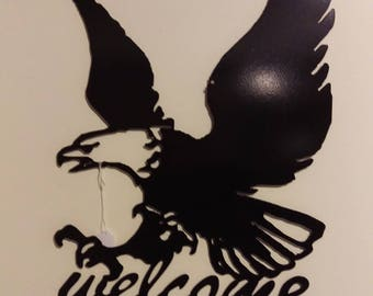 Eagle welcome metal art sign