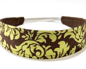 Ready to Ship - Brown Green Headband - Womens Headband - Reversible Fabric Headband - MOCHA & GREEN FLOURISH